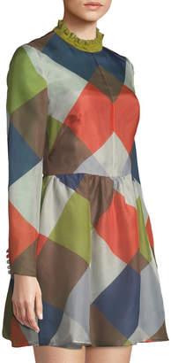 Valentino Mock-Neck Diamond Silk Fit-and-Flare Dress
