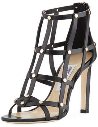 Jimmy Choo Tina Studded Leather Cage Sandal, Black