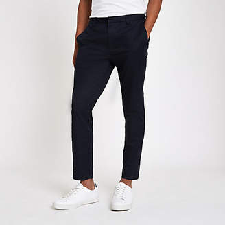 River Island Mens Navy skinny cropped trousers