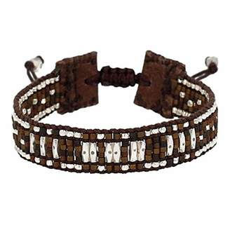 Chan Luu Beaded Adjustable Cuff Bracelet in Bronze Mix