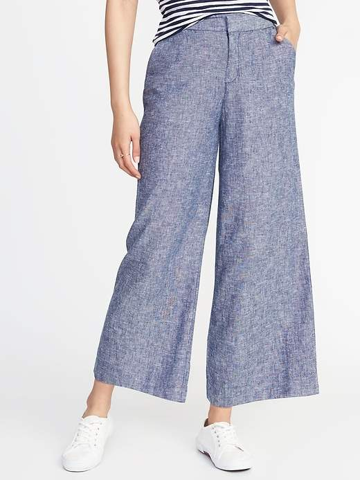 High-Rise Linen-Blend Wide-Leg Cropped Pants for Women