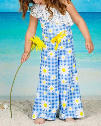 Mia Belle Girls One Shoulder Lace Ruffle Elastic Waist Palazzo Jumpsuit