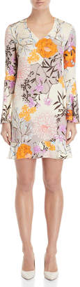 Les Copains Printed Bell Sleeve Shift Dress