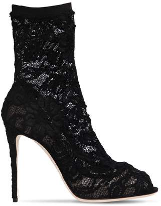 Dolce & Gabbana 105mm Stretch Lace Open Toe Ankle Boots