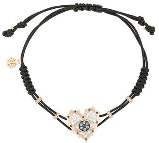 Pippo Perez 18kt rose gold, diamond and sapphire Evil Eye Heart charm bracelet