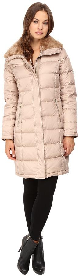 Cole Haan - Down Coat with Rabbit Faux Fur Removable Collar Women's Coat