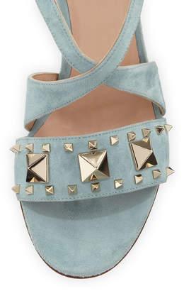 Valentino Rockstud Suede Ankle-Strap Sandals