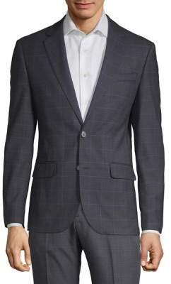 Karl Lagerfeld Paris Windowpane Button Front Sportscoat