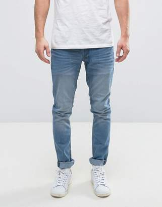 Solid Slim Jeans In Light Blue Wash