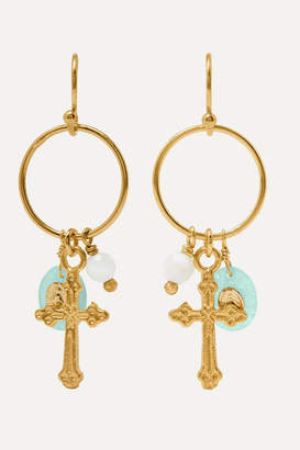 Chan Luu Gold-plated, Amazonite And Bead Earrings - Blue