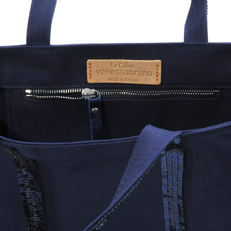 Vanessa Bruno Sequin and Canvas Medium + Tote Bag in Indigo Cotton