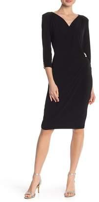 Carmen Marc Valvo Carmen Solid 3\u002F4 Sleeve Woven Dress