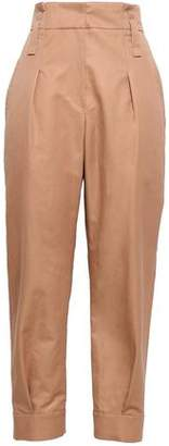 Brunello Cucinelli Cropped Cotton And Ramie-blend Tapered Pants