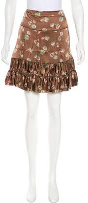 Marc Jacobs Marc by Printed Silk Skirt