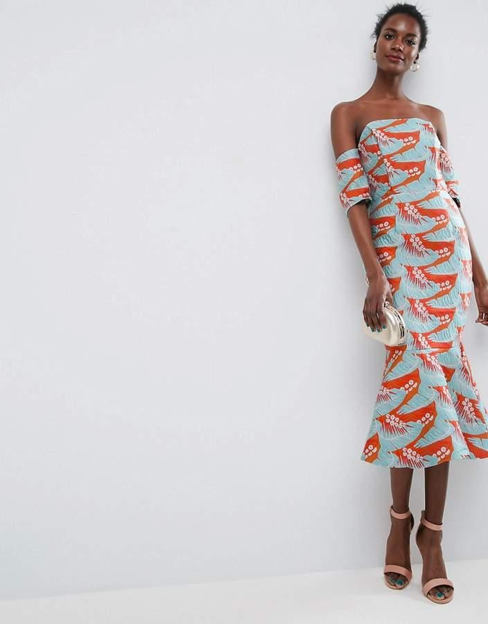 AsosASOS Tropical Pephem Jacquard Pencil Midi Dress