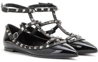 Valentino Rockstud Noir patent leather ballerinas