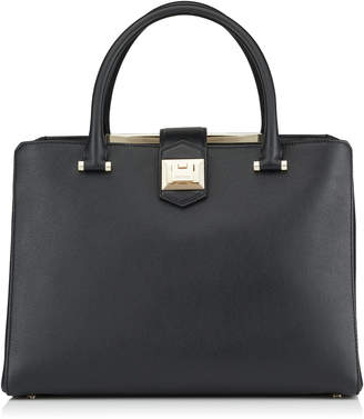 Jimmy Choo MARIANNE Black Grainy Calf Leather Tote Bag
