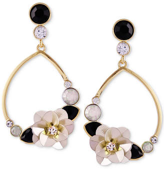 GUESS Gold-Tone Crystal & Stone Flower Drop Earrings