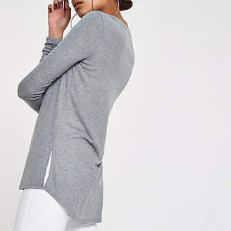 River Island Grey scoop neck ruched sleeve T-shirt