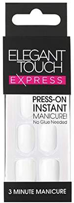 Elegant Touch Pre-Glued Express Nails, Polished Brilliant White by