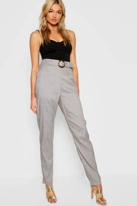 boohoo Tall Dogtooth Buckle Belted Trousers