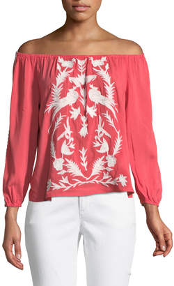 Brandon Thomas Off-the-Shoulder Embroidered Peasant Blouse