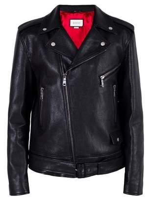 Gucci tiger embroidered biker jacket