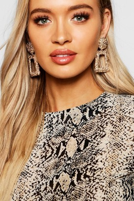 boohoo Textured Oversized Statement Earrings