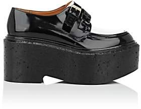 Calypso Clergerie Women's Leather Double-Buckle Platform Oxfords-Black