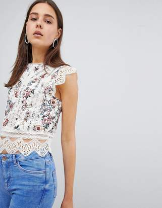 New Look Printed Lace Trim Shell Top
