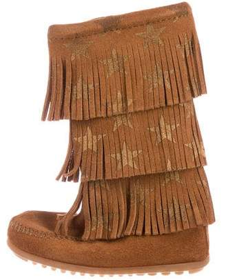 Minnetonka Girls' Suede Fringe-Accented Boots