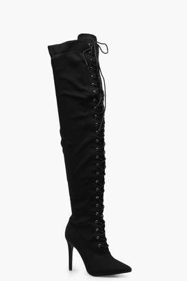 boohoo Lace Up Pointed Toe Over the Knee Boots