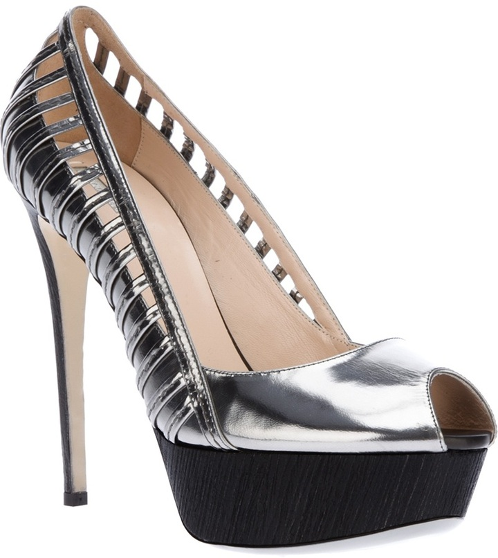 Giorgio Armani gated peep toe pump