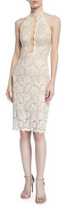 Jovani Sleeveless Lace Halter Dress