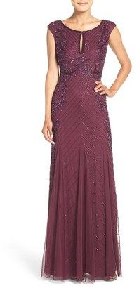 Women's Adrianna Papell Beaded Mesh Gown $329 thestylecure.com