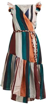 Apiece Apart Costa Del Sol Striped Linen Blend Wrap Dress - Womens - Multi