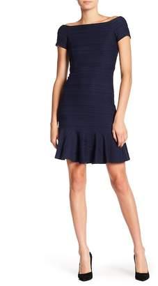 Rebecca Taylor Boatneck Textured Ruffle Hem Dress