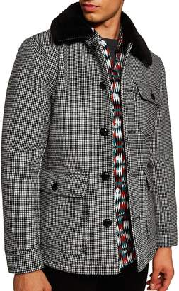 Topman Houndstooth Faux Fur Collar Jacket