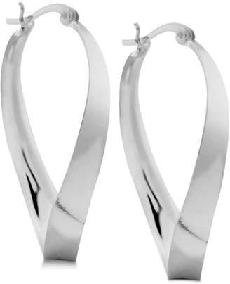 Essentials Polished Twist Hoop Earrings in Fine Silver-Plate