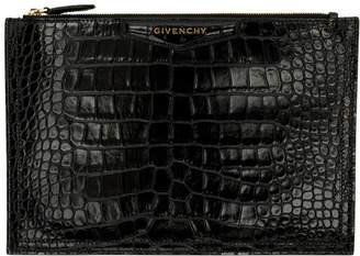 Givenchy (ジバンシイ) - Givenchy ブラック クロコ ミディアム アンティゴナ ポーチ