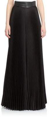 Moschino Leather-Trimmed Pleated Palazzo Pants