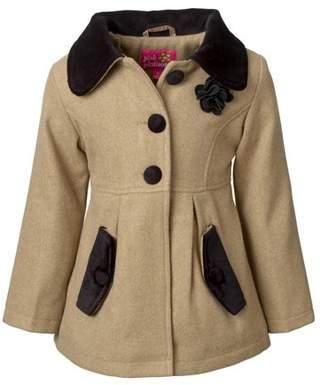 iXtreme Pink Platinum Baby Toddler Girl Velvet Trim Coat