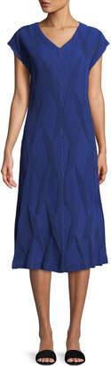 Issey Miyake V-Neck Diamond Pleated Dress