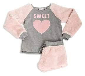 PJ Salvage Girls' Faux-Fur Sweet Pajama Top & Shorts Set - Little Kid