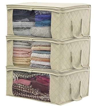 clear Sorbus Foldable Storage Bag Organizers, Large Window & Carry Handles, Great for Clothes, Blankets, Closets, Bedrooms, and more (3 Pack)