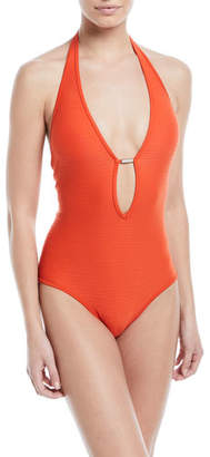 Jets Disposition Plunging Lace-Up Sides Textured One-Piece Swimsuit