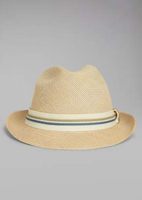 Giorgio Armani Straw Hat With Canvas Insert