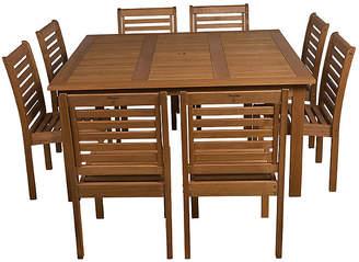 International Home Miami Eucalyptus 9-Pc Square Patio Dining Set