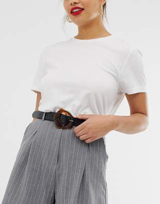 Asos Design DESIGN leather tort abstract buckle waist and hip belt