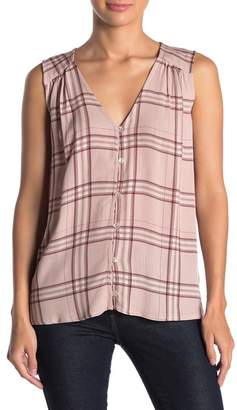 Bobeau Button Front Plaid Top